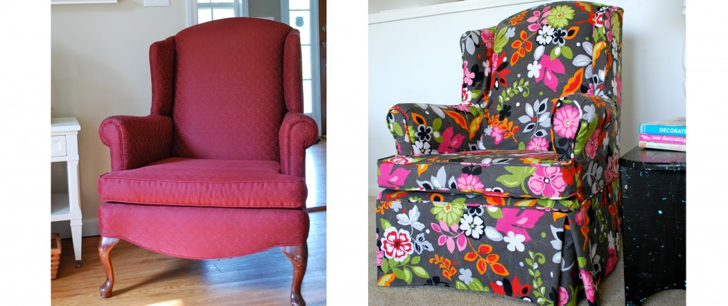 wing chair slipcover floral