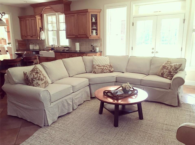 Sectional Slipcover in Oatmeal Linen